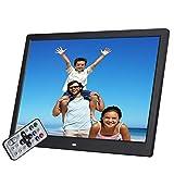 Digitaler Fotorahmen, 17 Zoll 1920 * 1080 hohe Auflösung mit HDMI-, USB-, SD/SDHC/MMC-Kartensteckplatz, MP3 / MP4 Player Machine Elektronischer Bilderrahmen,Black