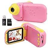 Kinderkamera, Digitale DV Kinderkamera mit 1080P HD 32G Speicherkarte 2,4 Zoll Bildschirm, 12MPKinderspielzeugkamera als Geburtstagsgeschenk für 2-7Jahre alte Jungen und Mädchen (Rosa)