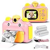 Seamuing Sofortbildkamera für Kinder 1080P HD-Kamera mit 2,4-Zoll-Bildschirm und sofortiger Druckkamera mit 2 Rollen Druckpapier und Einer 32-GB-SD-Karte (Rosa)