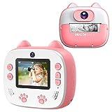 Dragon Touch Sofortbildkamera Kinder Kamera 2 Zoll 1080P Digital Kinderkamera mit 5 Druckpapier, Cartoon-Aufklebern, Kameratasche Geschenk für Kinder InstantFun Print Kamera (Rosa)
