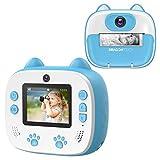 Dragon Touch Sofortbildkamera Kinder Kamera 2 Zoll 1080P Digital Kinderkamera mit 5 Druckpapier, Cartoon-Aufklebern, Kameratasche Geschenk für Kinder InstantFun Print Kamera (Blau)