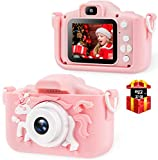 Bosszi Kinder Digitalkamera Mini Camcorder für Jungen und Mädchen | 2,0 Zoll Digitale Doppelkamera | 20.0MP HD Video Camcorder Anti-Drop Kinder Selfie Kamera als Geschenk - mit 32G SD Karte(Pink)