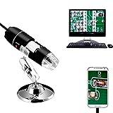 Jiusion 40-1000x Vergrößerung Endoskop, 8 LED USB 2.0 Digital Mikroskop, Mini Kamera mit OTG Adapter und Metall Standfunktion, kompatibel mit Mac Windows 7 8 10 Android Linux