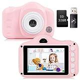 YUNKE Kinderkamera, Kamera für Kinder, Digitale Kinderkameras mit 3,5-Zoll-Bildschirm 8,0 MP 1080P HD-Kamera, Wiederaufladbare Spielzeugkamera für Kinder 2-10 Jahre alt Geburtstag Weihnachten (Rosa)