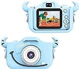 """Wurkkos Kids Digital Camera,12.0 Megapixel Kamera mit Einer kindgerechten,Niedlichen Silikonhülle,geeignet als Geburtstagsgeschenk BZW.Spielzeug,2.0""""Display 1080P HD Kamera mit 32GB SD Karte,Blau"""