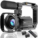 4K Videokamera Camcorder UHD 48MP Wi-Fi IR Nachtsicht 16X Digital Zoom Recorder 3,0' IPS Touchscreen Vlog Kamera für YouTube mit Mikrofon Handstabilisator Gegenlichtblende, 2 Batterien