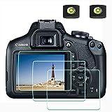 Schutzfolie Displayschutzfolie für Canon EOS 2000D 1300D DSLR-Kamera und Blitzschuhabdeckung,ULBTER 0,3 mm 9H Härte gehärtetes Glas Kratzfest, Anti-Fingerabdruck-3 Stück