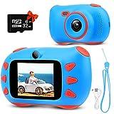 Kinderkamera, RUMIA Digitalkamera Fotoapparat Mit 2 Zoll IPS Bildschirm, 1080P HD Kinder Kamera, 32G TF-Karte, USB-Kabel & Lanyard für Junge Mädchen Kinder (Blau)