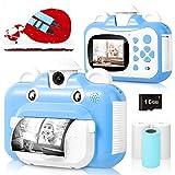 Kinderkamera, WiFi Print Kamera für Kinder, 1080P HD Videokamera mit 2,4 Zoll Screen, Sofortbildkamera Schwarzweiß-Fotokamera mit 16 GB SD-Karte und 3 Rollen Druckpapier, Geschenk für Kinder (Blue)