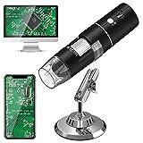 USB Mikroskope,WiFi Digital Mikroskop, HEYSTOP 1080P HD 2MP Mini Kamera,50 bis 1000x Vergrößerung Endoskop,8 LED Digital Mikroskop mit Metallständer Kompatibel mit iPhone IOS Android iPad Windows,MAC