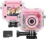 BlumWay Mini Digital Kamera für Kinder von 3 bis 13 Jahren, HD Wiederaufladbare Kinderkamera mit 32G SD-Karte, wasserdichte Action Kamera für Indoor Outdoor, Spielzeug und Geschenk für Kinder(Rosa)