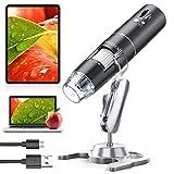 YINAMA WiFi Mikroskop, 50x-1000x Vergrößerung Mikroskop Kamera, 8 LED-Leuchte Mini-Handmikroskop 2MP, kompatibel mit Android, iPad, PC, MAC und Windows