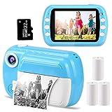 GlobalCrown Sofortbildkameras für Kinder, 3,5 Zoll Bildschirm Digital Sofortdruck Kinder kameras Geschenke für 3-12 Jahre alte Jungen Mädchen (einschließlich 4 Rollen Druckpapier und 32GB Karte)