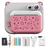 Ukuu Sofortbildkamera 2,0 Zoll 1080P KinderKamera mit 3 Rollen Druckpapier und 5 Farben Pinselstift Geschenk für Kinder Bildschirm Videokamera Schwarzweiß Fotokamera mit 32GB Speicherkarte - Rosa