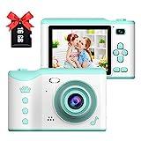 Kinderkamera, BJLBOJEY 1080P HD Selfie Kamera 2.8 Inch HD Touchscreen Videokamera Fotoapparat für Kinder mit 16GB TF-Karte, Geschenk für 4-12 Jahre alt Jungen und Mädchen Kinder Digitalkamera (Grün)
