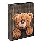 Hama Kinder-Fotoalbum (Einsteckalbum zum Einstecken von 200 Fotos im Format 10x15, Fotobuch mit 100 schwarzen Seiten, Babyalbum mit Teddy-Bär Motiv) braun