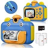 BITIWEND Kinderkamera, Print Kamera für Kinder, 1080P HD Videokamera mit 2,4 Zoll Screen, Sofortbildkamera Schwarzweiß-Fotokamera mit 16 GB SD-Karte und 3 Rollen Druckpapier, Geschenk für Kinder