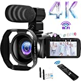 Camcorder 4K Videokamera 48MP 60FPS WiFi Camcorder 18X Digital Zoom mit IR Night Version Vlogging Kamera 3.0'IPS Touchscreen mit Mikrofon, Gegenlichtblende, 360°Funkfernbedienung