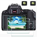 Displayschutzfolie Schutzfolie für Canon EOS 250D DSLR-Kamera und Blitzschuhabdeckung, ULBTER 0,3 mm 9H Härte gehärtetes Glas Kratzfest, Anti-Fingerabdruck- 3 Stück