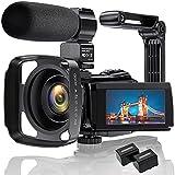 4K Videokamera Camcorder Ultra HD 48MP WiFi IR Nachtsicht-Vlogging-Kamera für 3' IPS-Touchscreen 16X Digitalzoom YouTube-Kamerarecorder mit Mikrofon, Handstabilisator, Gegenlichtblende