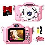 semai Kinder Kamera, Kinder Digital Kamera Wiederaufladbar, Kinder Selfie Kamera mit 2 Zoll IPS Bildschirm, 32GB Micro SD Karte,Video Camcorder Fotokamera für 3-12 Jahre Alte Mädchen Jungen (Rosa)