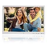 Garsent Digital Bildrahmen, 17' HDMI Hohe Auflösung Fotorahmen mit Foto/Musik/Video Player Multi Funktions mit Fernbedienung(weiß)