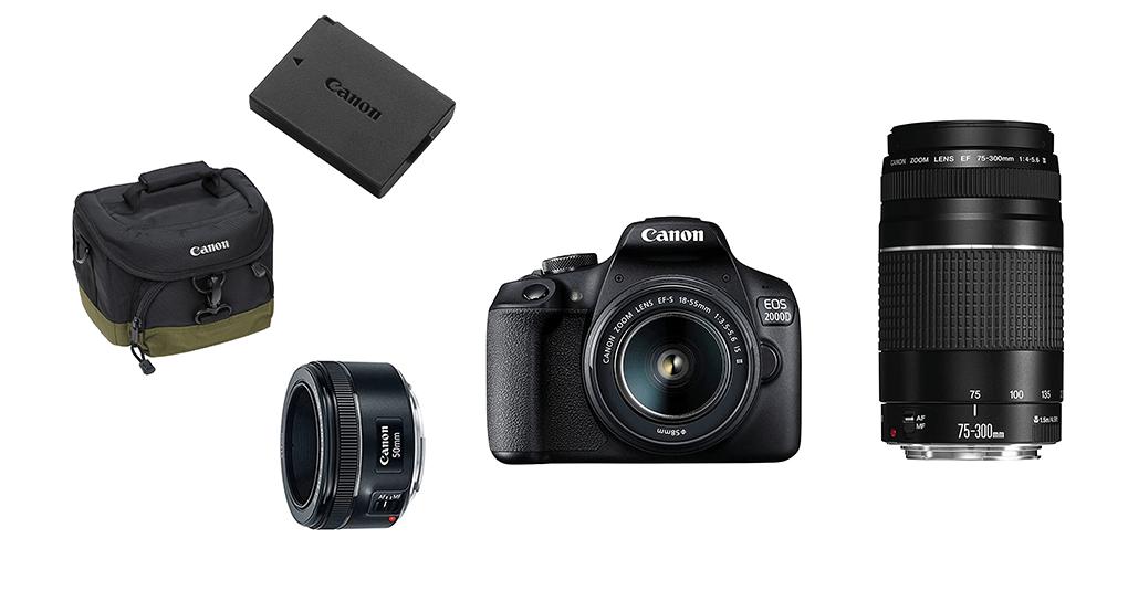 Canon EOS 2000D mit Objektiven und passendem Zubehör