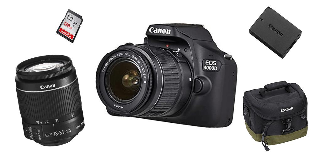 Canon EOS 4000D mit Objektiven und passendem Zubehör