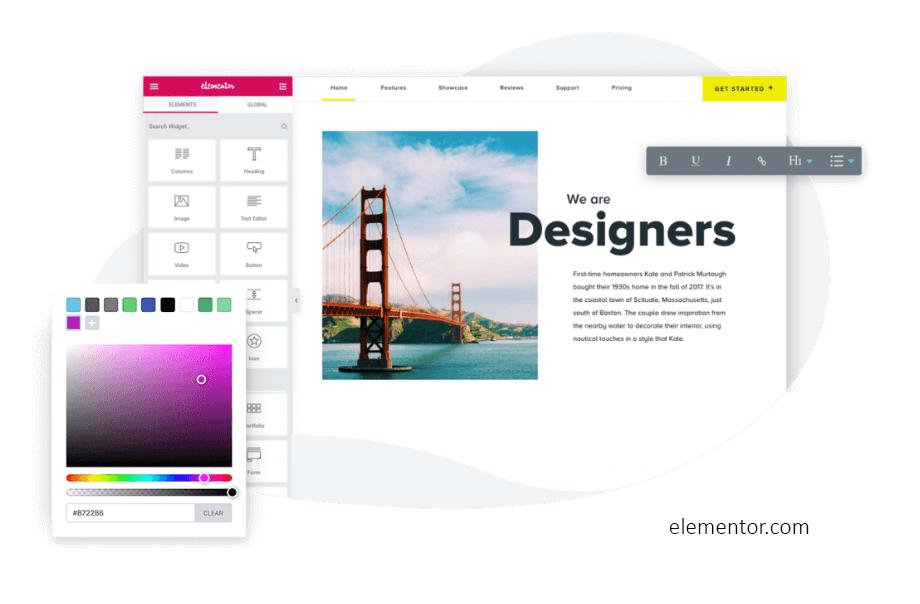 Screenshot Elementor Website-Baukasten